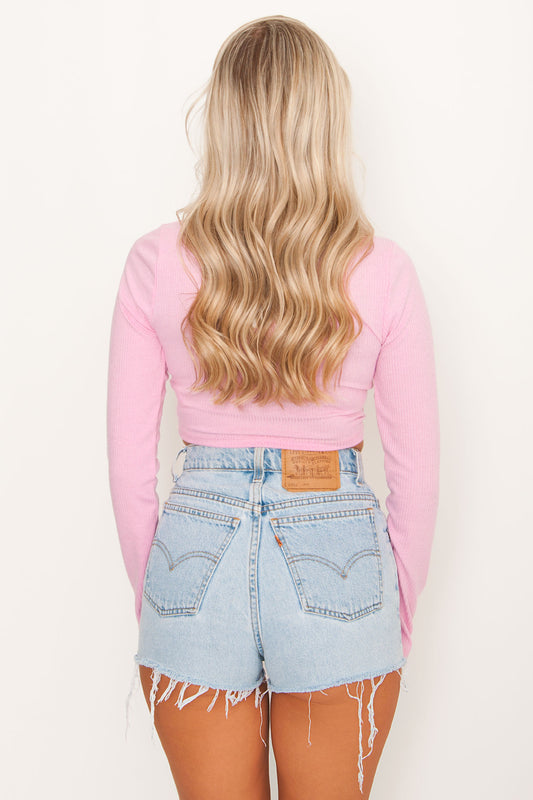 Back To You Ribbed Crop - Pink