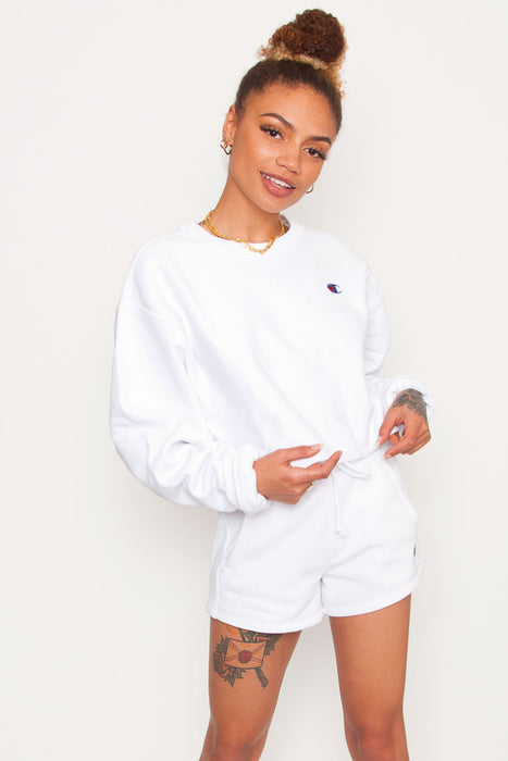 Champion Cut Off Cropped Crew - White