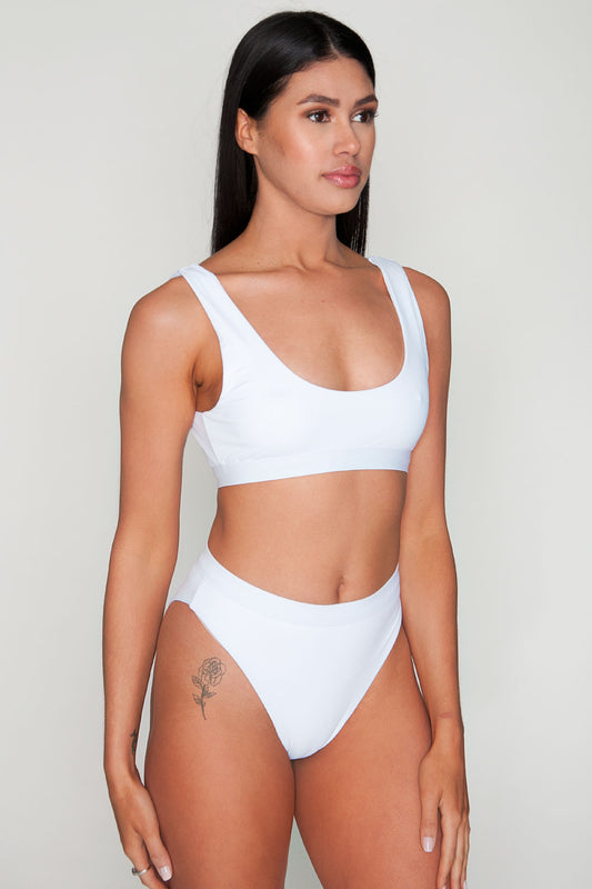 Moana High Cut White Swim Bottom