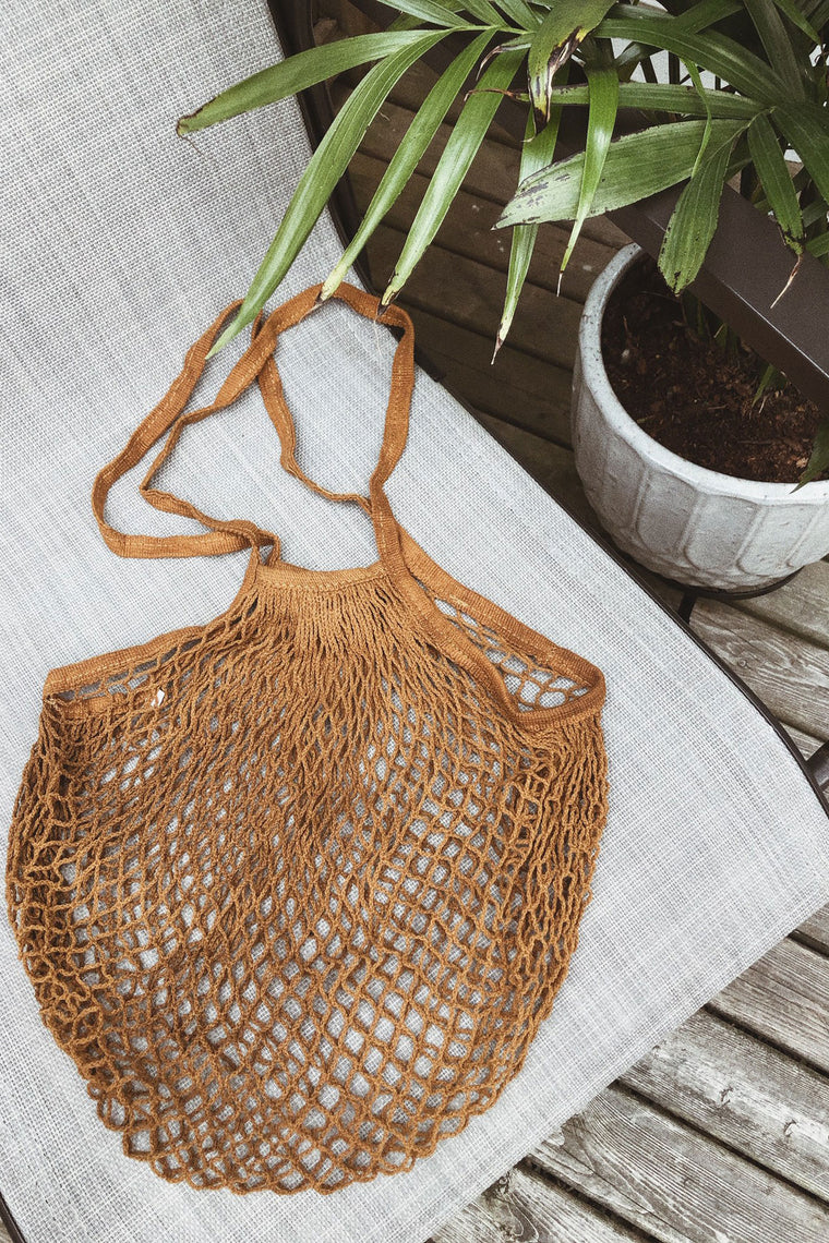 Nevis Crochet Netted Bag - Brown