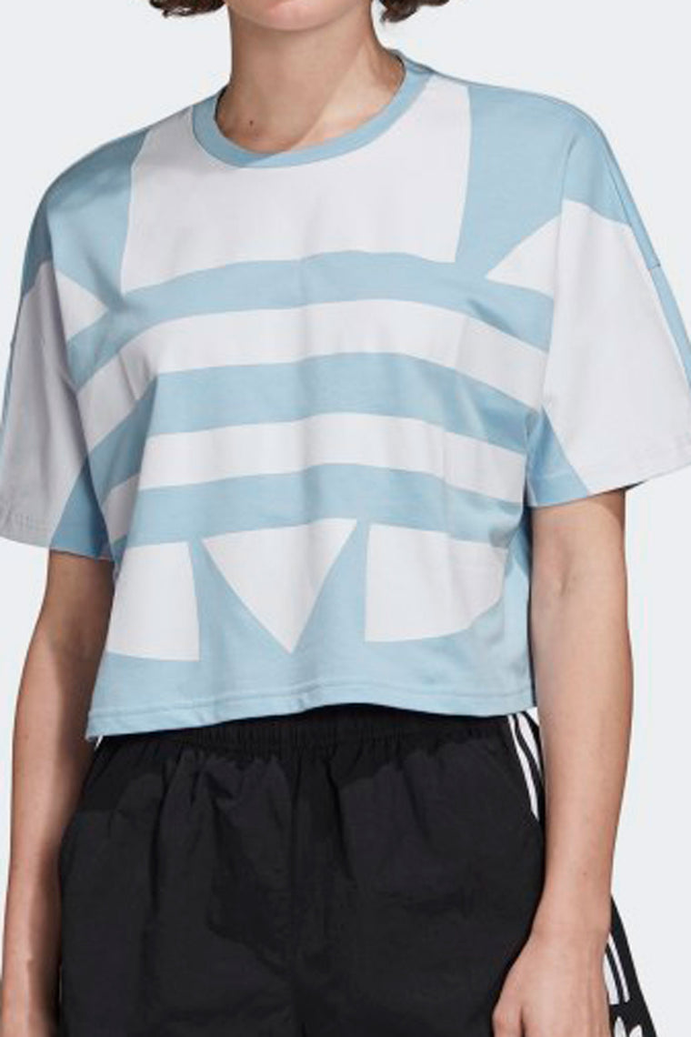 Adidas Originals Cropped Large Logo Tee - Blue