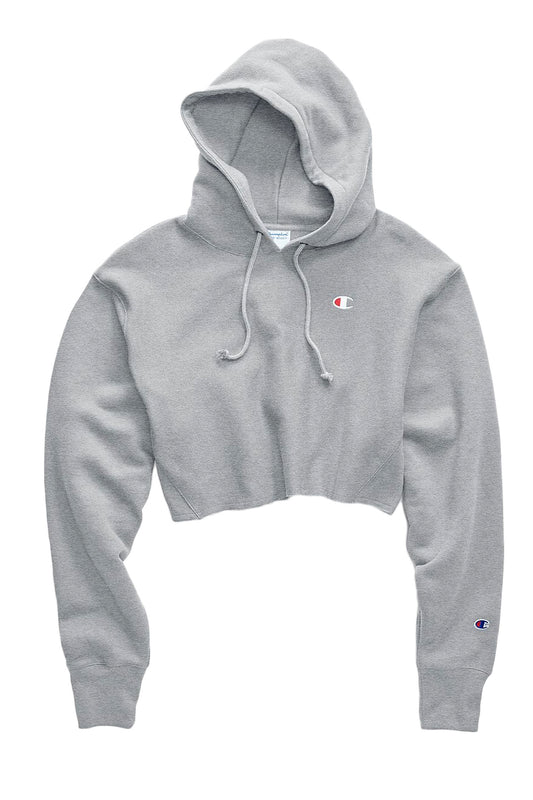 Champion Cut Off Cropped Hoodie - Oxford Grey