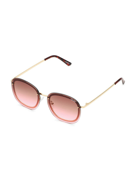 Quay X Chrissy Jezabell Chain Rimless - Gold/Brown Pink