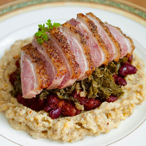Duck Pheasant Quail Recipes - Roast Duck with Maple Baked Beans and Grits