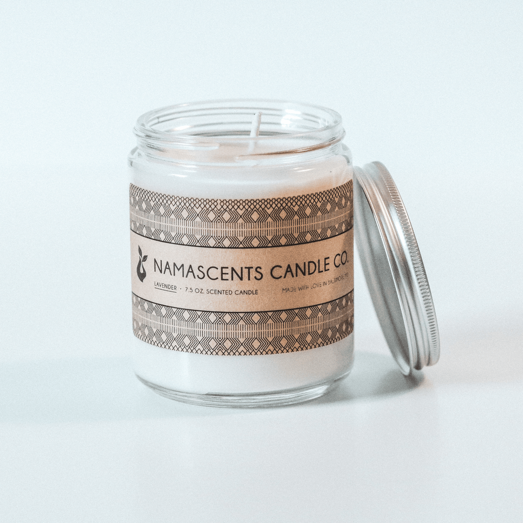 LAVENDER SCENTED SOY CANDLE sits on white background