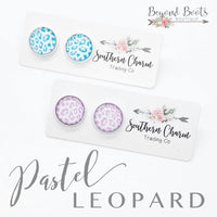 Pastel Leopard Stud Earrings- Fuchsia or Mint