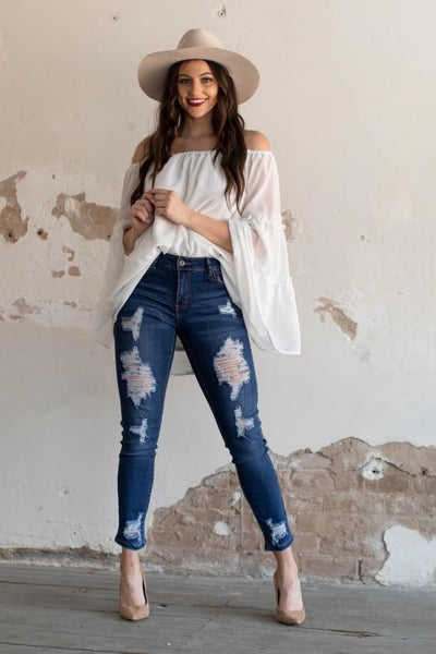 L&B Mid Wash Ripped Skinny Ankle Jeans