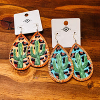 Genuine Leather Cactus Teardrop Earrings