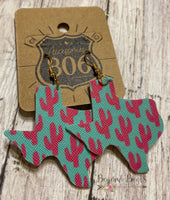 Turquoise Texas With Cactus Print