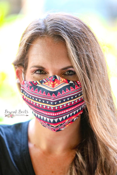 Adult Fabric Face Mask- Aztec