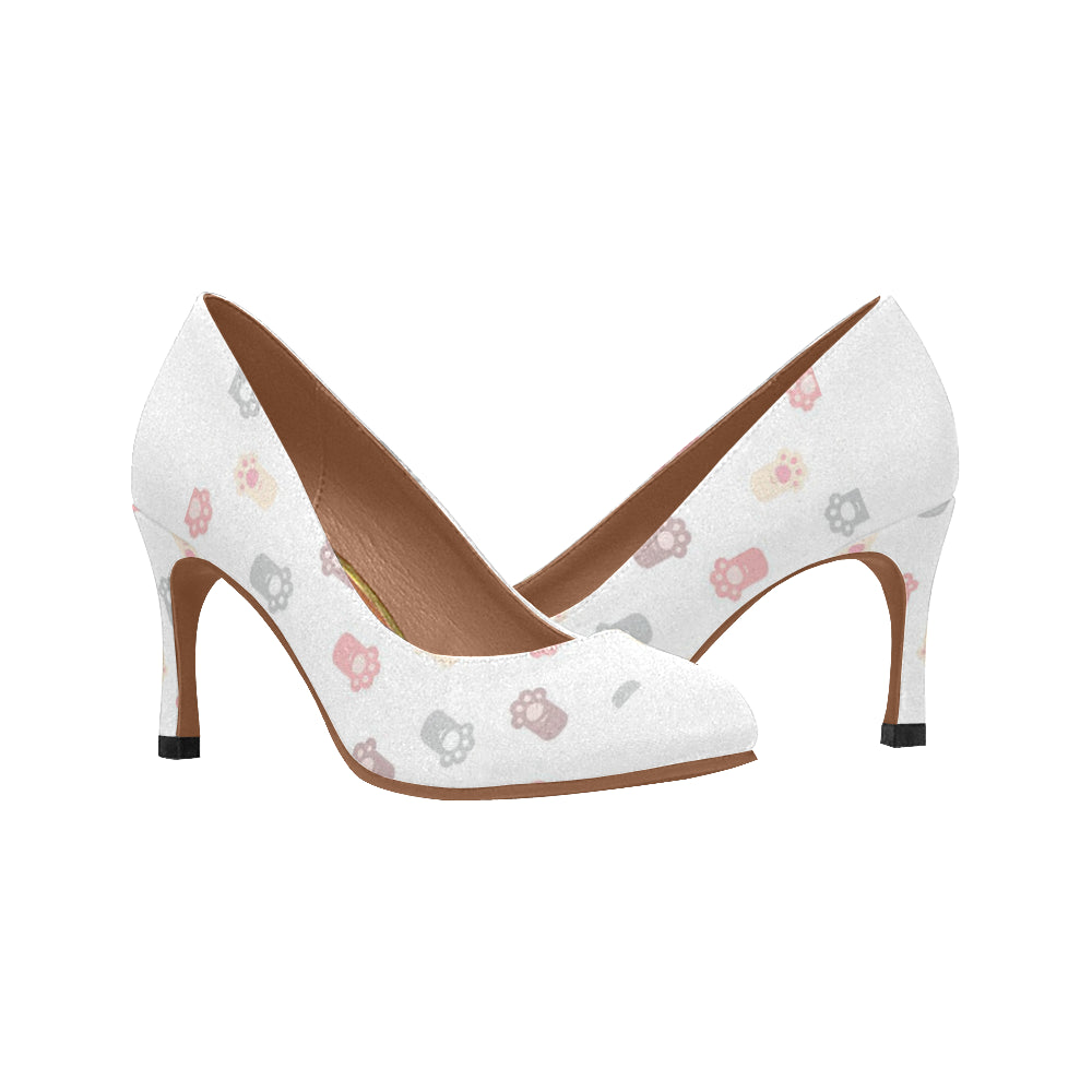 White Cat Paw Ladies High Heel Pumps