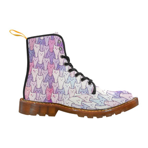 Cat Themed Women's Lace Up Canvas Boots