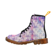 Load image into Gallery viewer, Cat Themed Women's Lace Up Canvas Boots