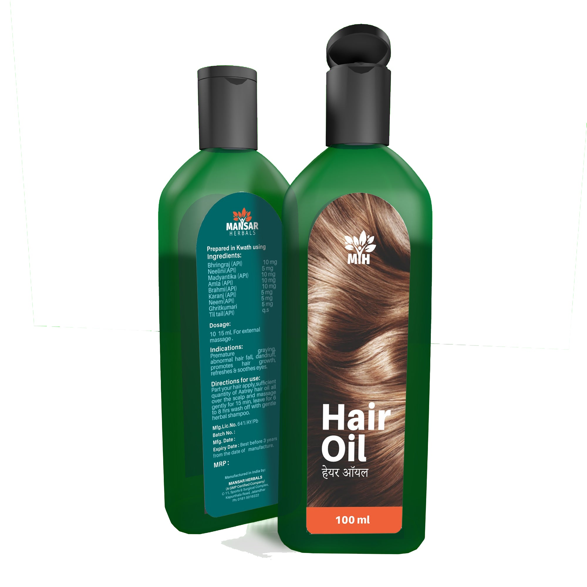 Mansar Herbals Hair Oil is a herbal hair oil that provides nourishment to scalp and hair follicles and prevents premature greying, excessive hairfall and dandruff. It Strenghtens the hair and makes them healthy, shiny and strong.