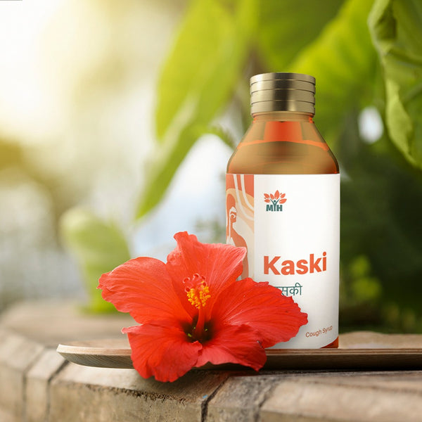 KASKI SYRUP is formulated using unique variety of herbs which are effective broncho relaxant, expectorant, respiratory demulcent and have anti allergic properties. It will give immediate relief from both dry cough, allergic cough and cough with phlegm. It is non-sedative and indicated in all age groups