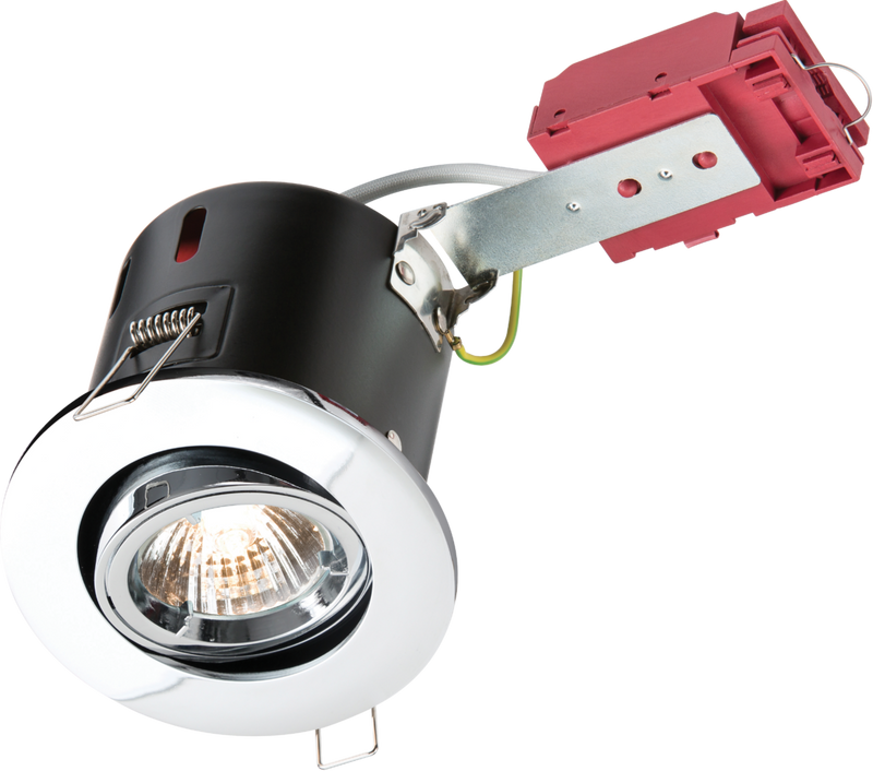 230V IP20 50W GU10 IC Fire-Rated Tilt Downlight Chrome