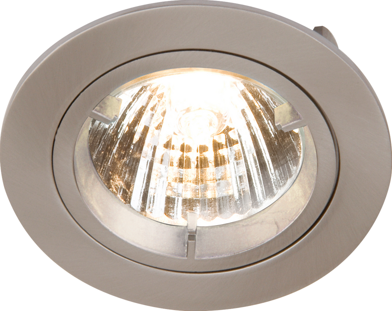 IP20 230V GU10 Brushed Chrome Recessed Fixed Twist & Lock Downlight