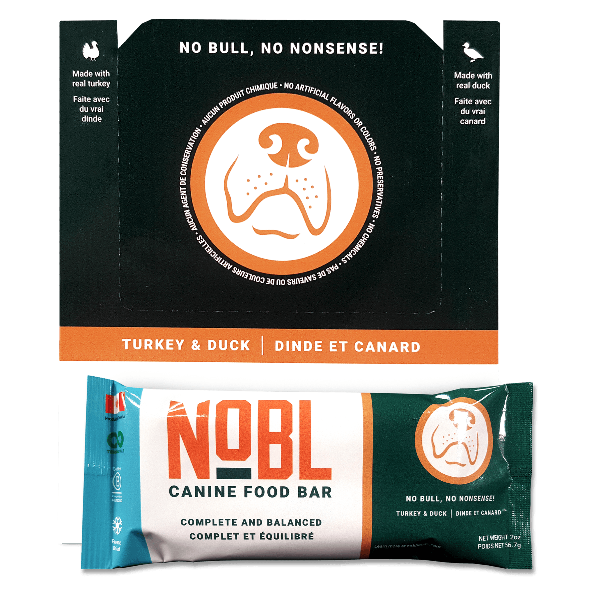 RETAIL ORDER - ADULT CANINE FOOD BARS: TURKEY & DUCK RECIPE: 12 BAR CASE - NOBL Foods