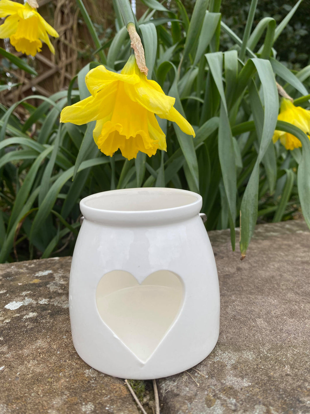 White Heart Ceramic Candle Holder