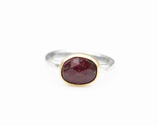 Tourmaline Ring Sterling 22k Gold Size 7.5
