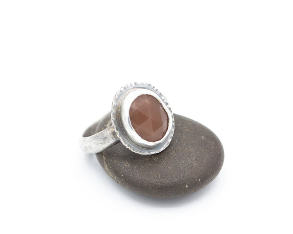 Peach Moonstone Ring Sterling Size 7.75