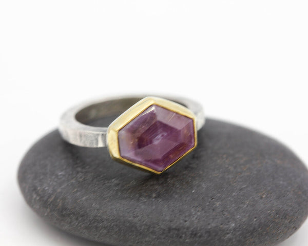 Pink Sapphire Hexagon Ring 22k Gold Sterling Size 6.25