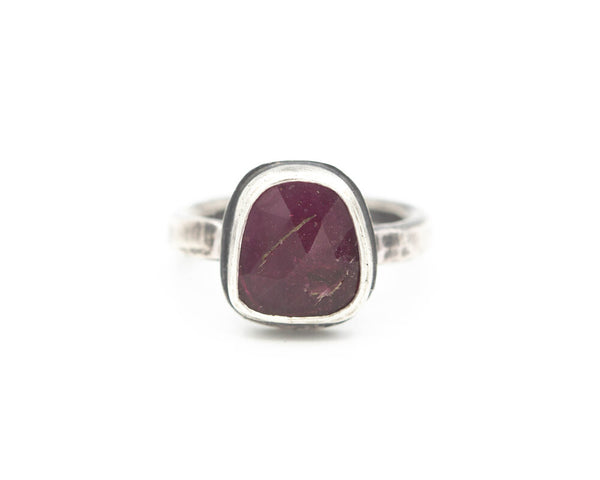 Pink Tourmaline Ring Sterling Size 6.75