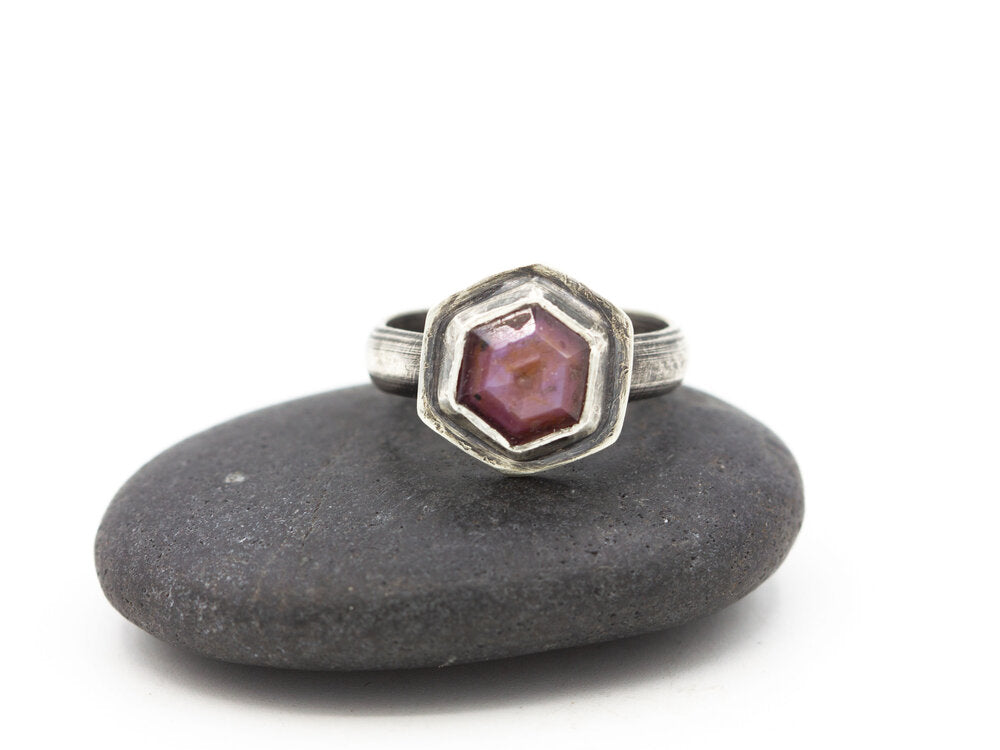 Pink Sapphire Hexagon Ring Sterling Size 6.5