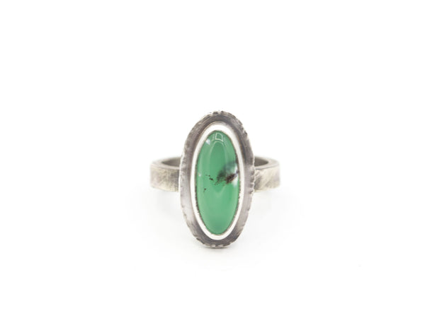 Rustic sterling and long oval chrysoprase ring, size 6.5