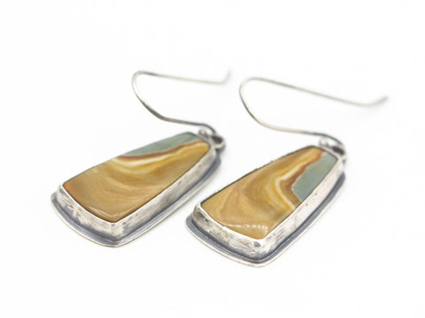 Sand and muted pastel green stone earrings in sterling silver