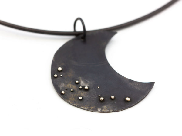 Steel and Silver Pendant Choker