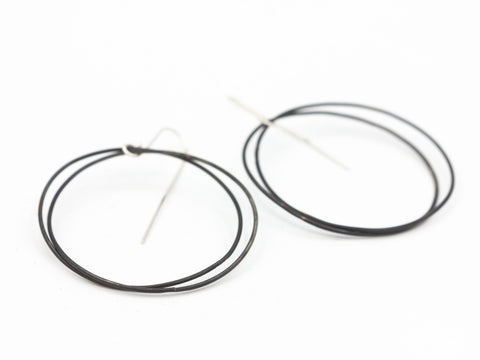 Black Steel and Sterling Hoops