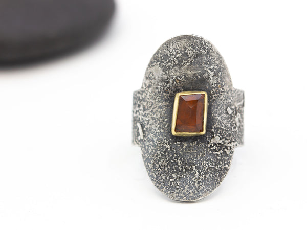 Spessartine Garnet Saddle Ring Size 8.75