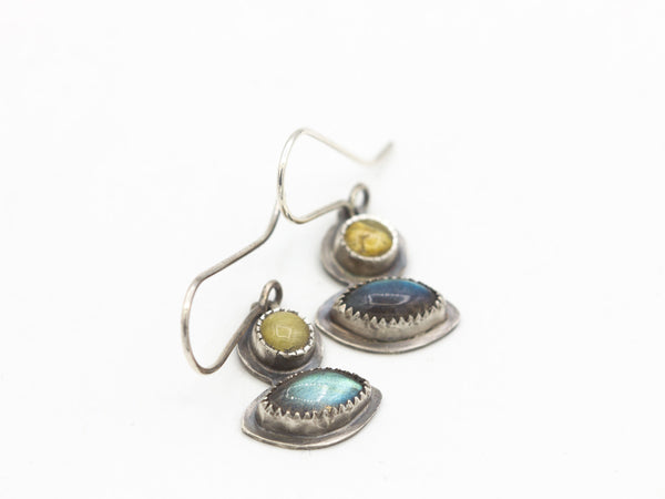 Labradorite and Amber Earrings