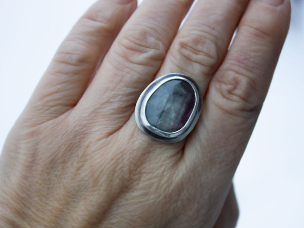 Silver Pink Sheen Sapphire Ring Size 8.25