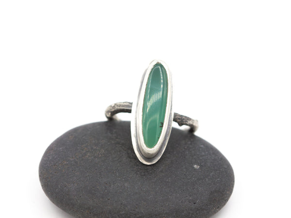 Chrysoprase Ring Sterling Size 6.75