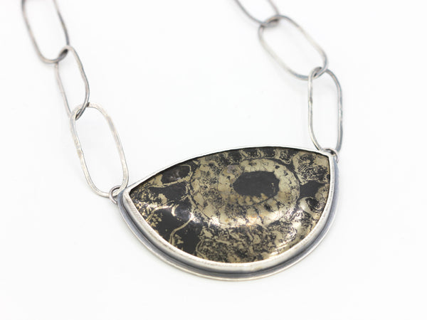 Pyritized Ammonite Pendant Necklace
