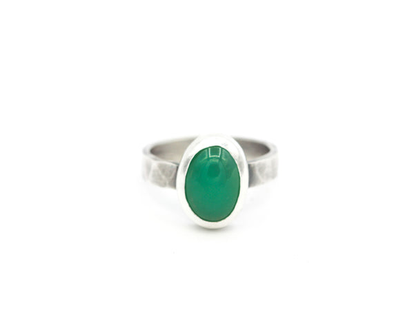 Chrysoprase and Sterling Ring Size 7.75