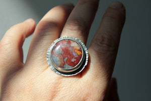 Laguna Lace Agate & Sterling Ring, Size 8