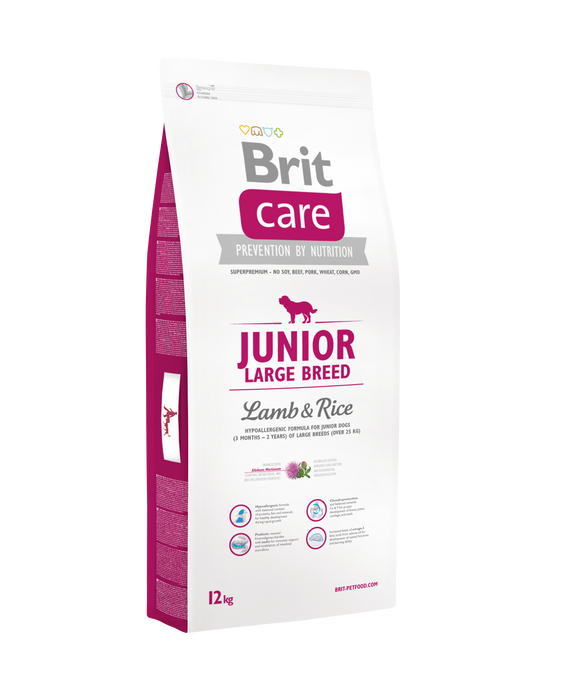 Brit Care JUNIOR - LARGE BREED<br>BÁRÁNY & RIZS<br><i>Hipoallergén</i>
