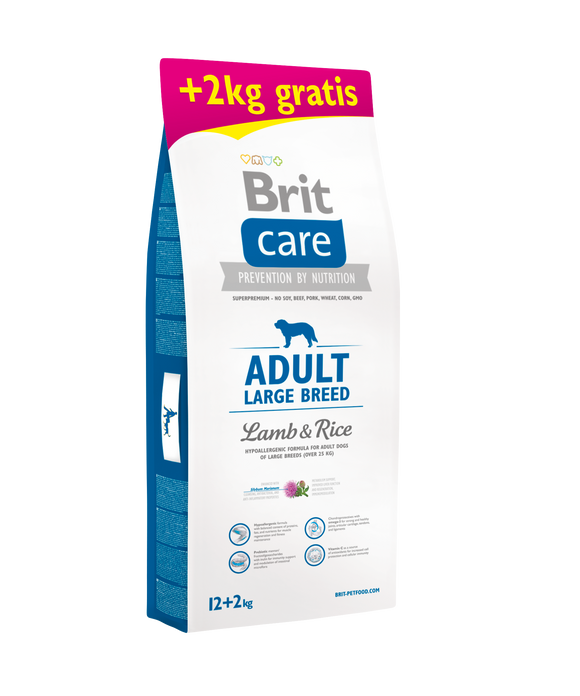 Brit Care ADULT - LARGE BREED <br>BÁRÁNY & RIZS 12+2 Kg <br><i>Hipoallergén </i>