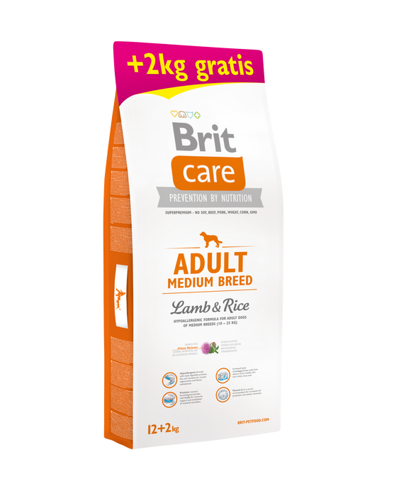 Brit Care ADULT - MEDIUM BREED <br> BÁRÁNY & RIZS 12+2 Kg<br><i> Hippoallergén </i>