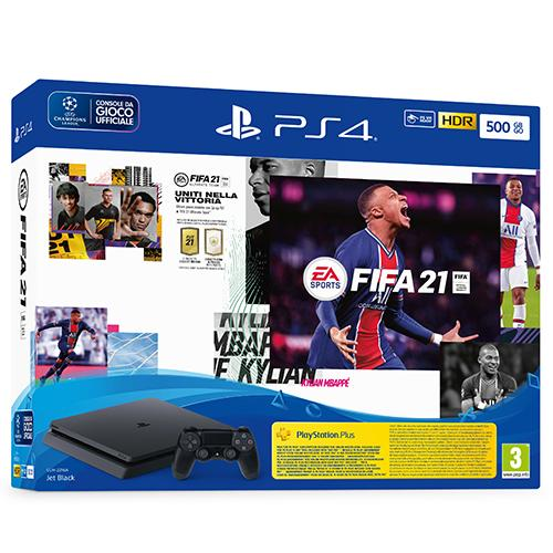 PS4 Console 500GB Chassis Slim Black + FIFA21 + FUT 21 VCH