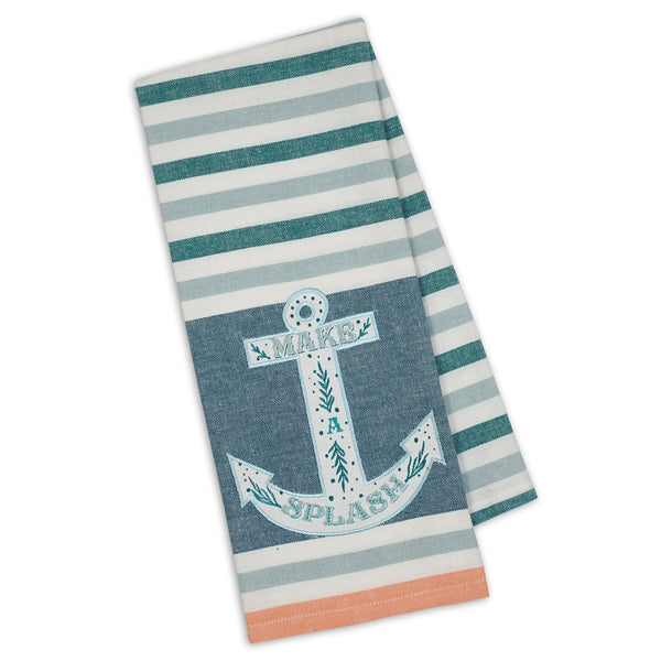 """Make Splash Anchor"" Embellished Dishtowel."
