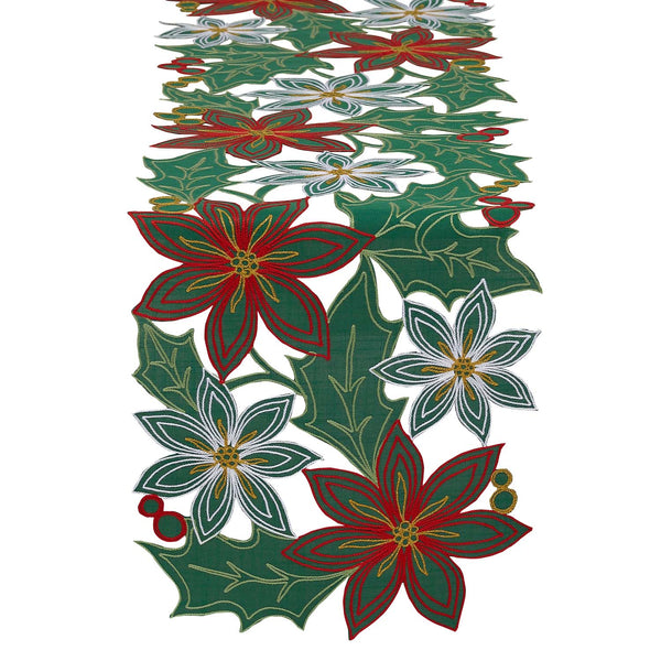 Poinsettia Embroidered Table Runner