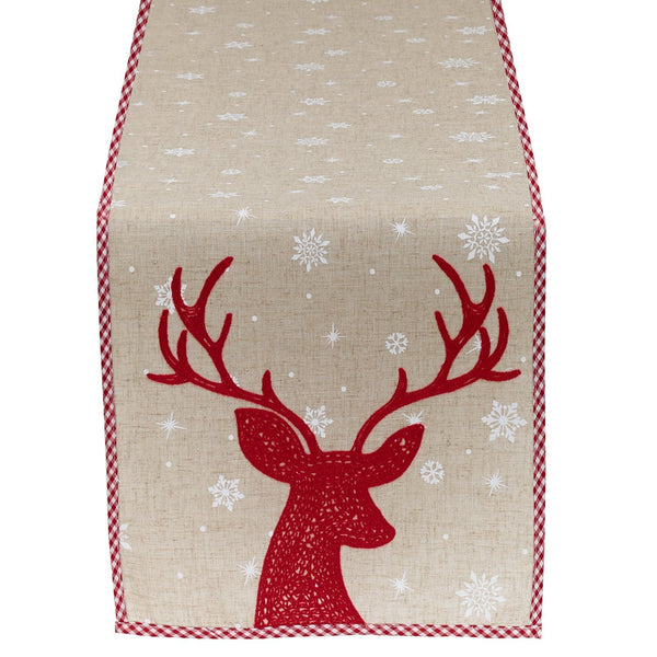 Red Reindeer Embroidered Table Runner