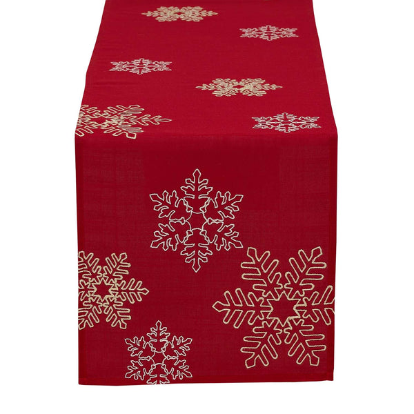 Shimmering Snowflakes Leaves Embroidered Table Runner