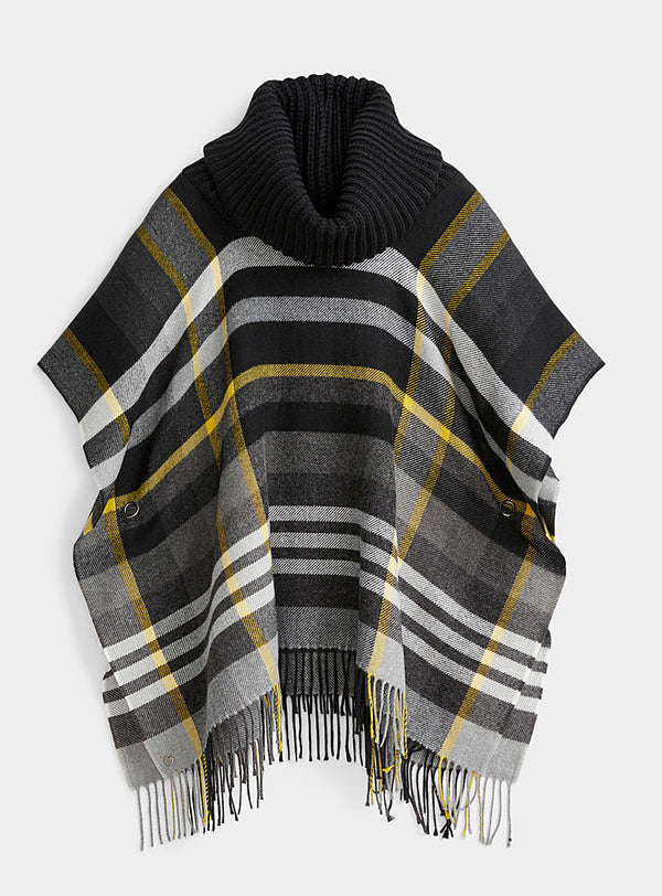 Fraas Woven Poncho with Knit Collar