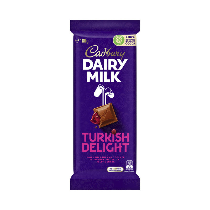 Cadbury Dairy Milk Turkish Delight Chocolate Block 180g