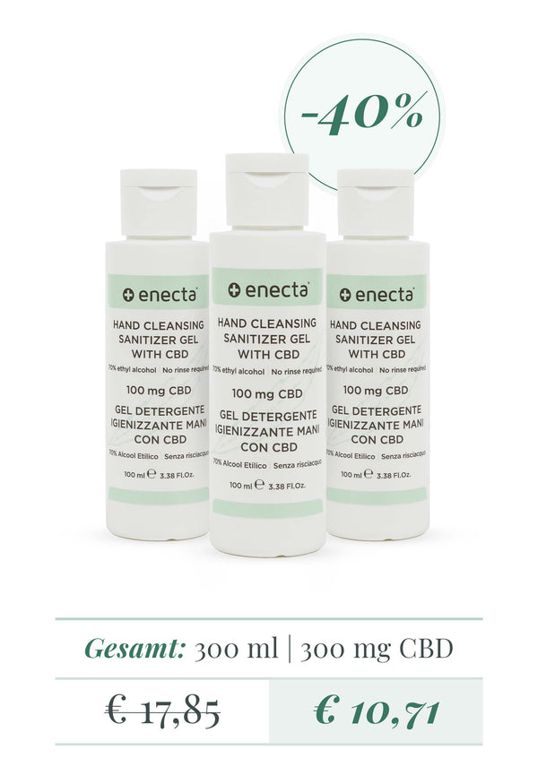 3er Pack | Handreinigungs desinfektionsmittel gel mit CBD - 100 mg CBD, 100 ml